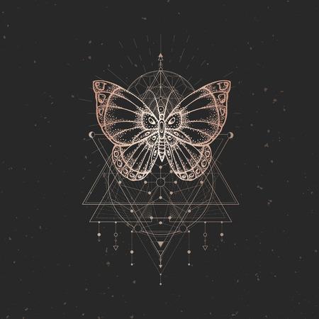 Illustration vectorielle avec papillon dessiné à la main et symbole géométrique sacré sur fond vintage noir. Signe mystique abstrait. Forme linéaire dorée. Pour votre conception ou artisanat magique.