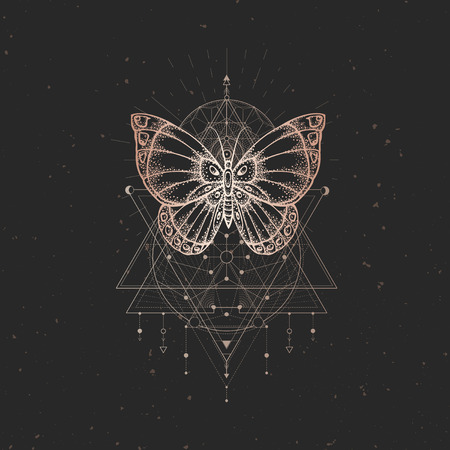 Vector illustration with hand drawn butterfly and Sacred geometric symbol on black vintage background. Abstract mystic sign. Gold linear shape. For you design or magic craft. 向量圖像