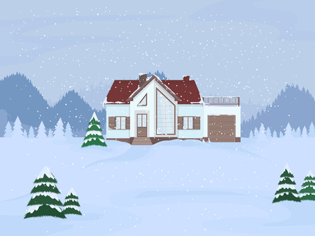 Vector illustration of suburban family house with mansard and firs against the winter landscape background and snowfall. Illustration