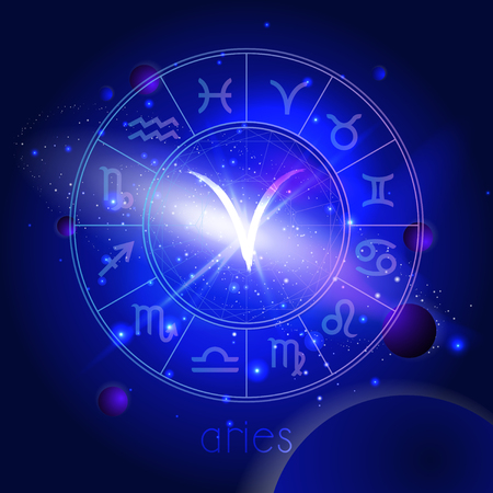 Vector illustration of sign ARIES with Horoscope circle against the space background with planets and stars. Sacred symbols in blue colors. Illustration