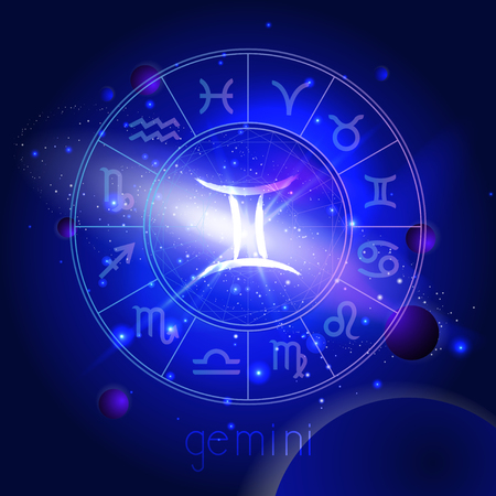 Vector illustration of sign GEMINI with Horoscope circle against the space background with planets and stars. Sacred symbols in blue colors.