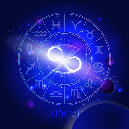 Vector illustration of sign CANCER with Horoscope circle against the space background with planets and stars. Sacred symbols in blue colors. Illustration