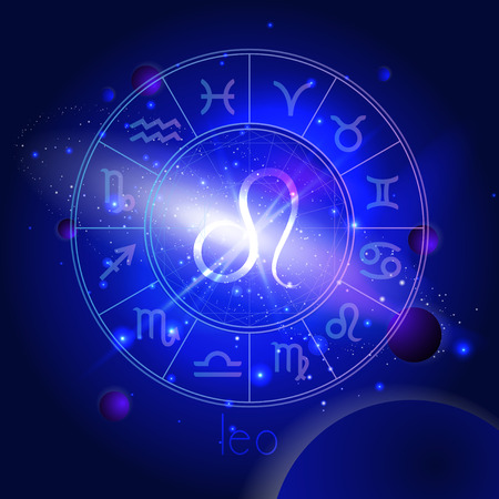 Vector illustration of sign LEO with Horoscope circle against the space background with planets and stars. Sacred symbols in blue colors.