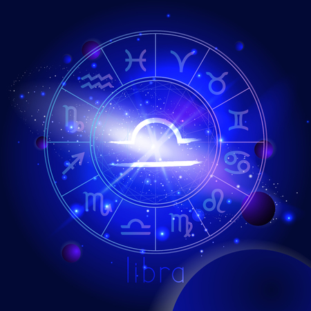 Vector illustration of sign LIBRA with Horoscope circle against the space background with planets and stars. Sacred symbols in blue colors.
