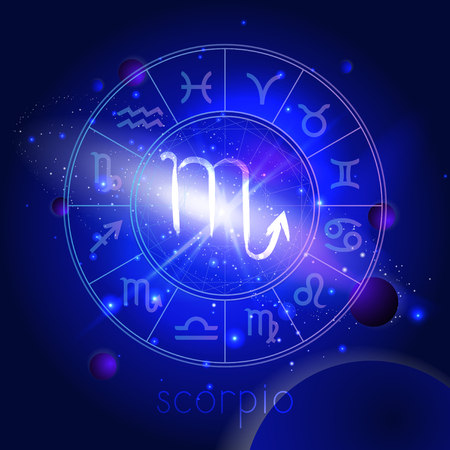 Vector illustration of sign SCORPIO with Horoscope circle against the space background with planets and stars. Sacred symbols in blue colors. Illustration
