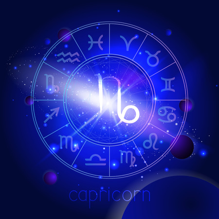 Vector illustration of sign CAPRICORN with Horoscope circle against the space background with planets and stars. Sacred symbols in blue colors. Illustration