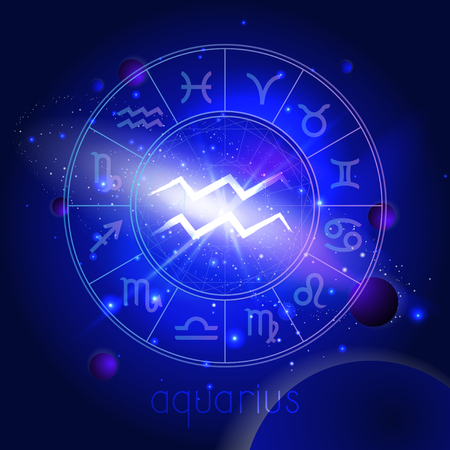 Vector illustration of sign AQUARIUS  with Horoscope circle against the space background with planets and stars. Sacred symbols in blue colors. Illustration