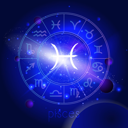 Vector illustration of sign PISCES with Horoscope circle against the space background with planets and stars. Sacred symbols in blue colors.