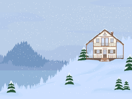 Vector illustration of suburban family house with mansard,lake and firs against the winter landscape background and snowfall.