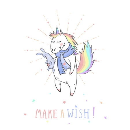 Vector illustration of hand drawn cute unicorn with bunny toy and text  MAKE A WISH! On withe background. Cartoon style. Colored.
