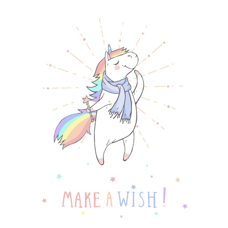 Vector illustration of hand drawn cute unicorn in scarf with magic wand and text MAKE A WISH! On withe background. Cartoon style. Colored. Illustration