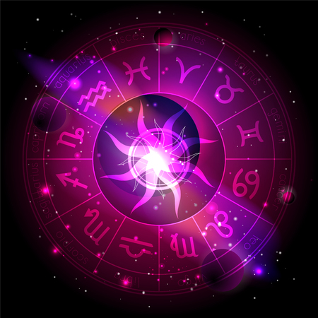 Vector illustration of Horoscope circle with Zodiac signs against the space background with planets, stars and geometry pattern Sun. Sacred symbols in red and purple colors. Çizim