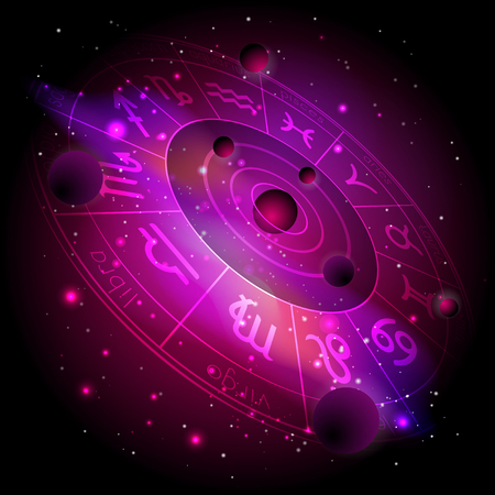 Vector illustration of Horoscope circle with Zodiac signs against the space background with planets, stars. Sacred symbols in red and purple colors. In perspective. Çizim
