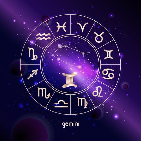 Ilustración de vector de signo 3D y la constelación de GÉMINIS con el círculo del horóscopo contra el fondo del espacio con la galaxia. Símbolos sagrados en colores dorados.