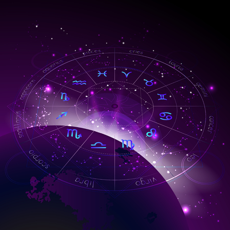 Vector illustration of Horoscope circle in perspective, Zodiac signs and pictograms astrology planets against the space background with sunrise and geometry pattern. In blue and purple colors.