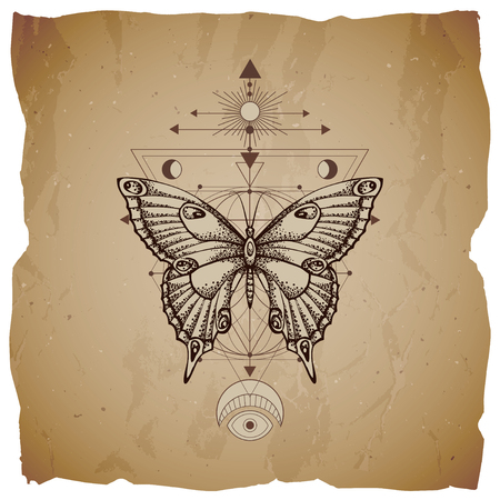 Vector illustration with hand drawn butterfly and Sacred geometric symbol on vintage paper background with torn edges. Abstract mystic sign. Sepia linear shape. For you design or magic craft.