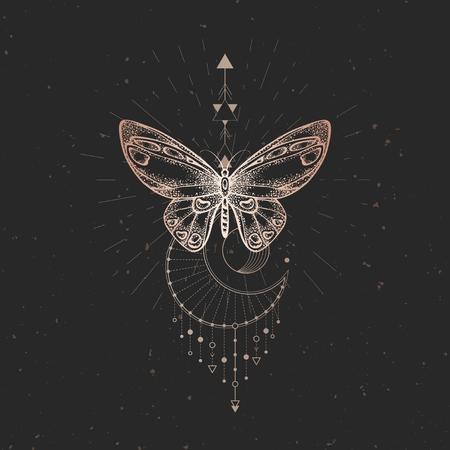 Illustration vectorielle avec papillon dessiné à la main et symbole géométrique sacré sur fond vintage noir. Signe mystique abstrait. Forme linéaire dorée. Pour votre conception ou artisanat magique. Vecteurs