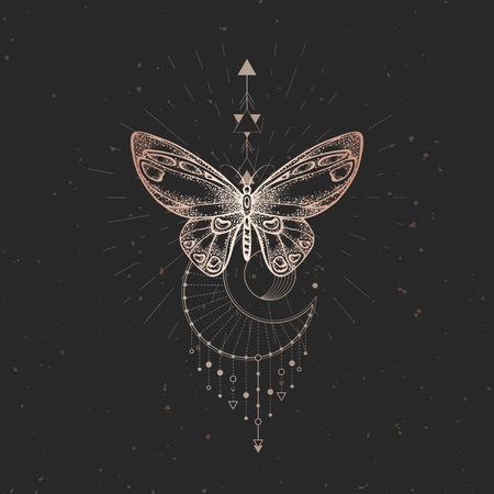 Vector illustration with hand drawn butterfly and Sacred geometric symbol on black vintage background. Abstract mystic sign. Gold linear shape. For you design or magic craft. Vettoriali