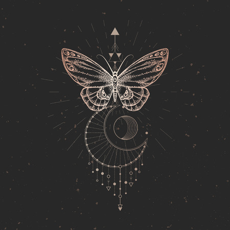 Vector illustration with hand drawn butterfly and Sacred geometric symbol on black vintage background. Abstract mystic sign. Gold linear shape. For you design or magic craft. Ilustrace
