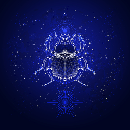 Vector illustration with hand drawn scarab and Sacred geometric symbol against the starry sky. Abstract mystic sign. Linear shape. For you design: tattoo, print, posters, t-shirts, textiles and other.
