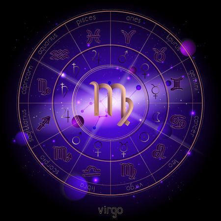 Vector illustration of sign and constellation VIRGO and Horoscope circle with astrology pictograms against the space background with planets and stars. Sacred symbols in gold and purple colors.