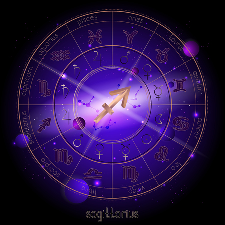 Vector illustration of sign and constellation SAGITTARIUS and Horoscope circle with astrology pictograms against the space background with planets and stars. Sacred symbols in gold and purple colors. Çizim