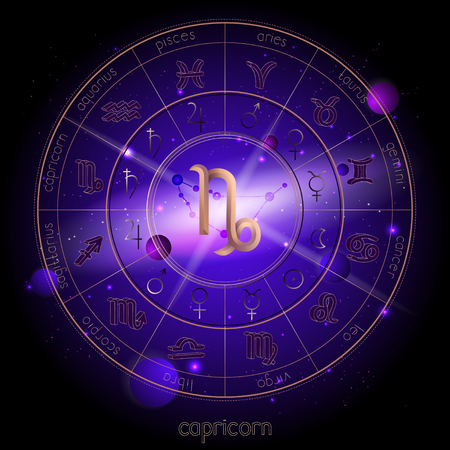 Vector illustration of sign and constellation CAPRICORN and Horoscope circle with astrology pictograms against the space background with planets and stars. Sacred symbols in gold and purple colors.