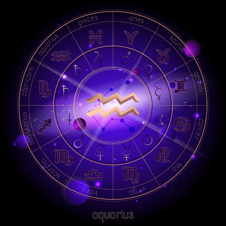 Vector illustration of sign and constellation AQUARIUS and Horoscope circle with astrology pictograms against the space background with planets and stars. Sacred symbols in gold and purple colors. Çizim