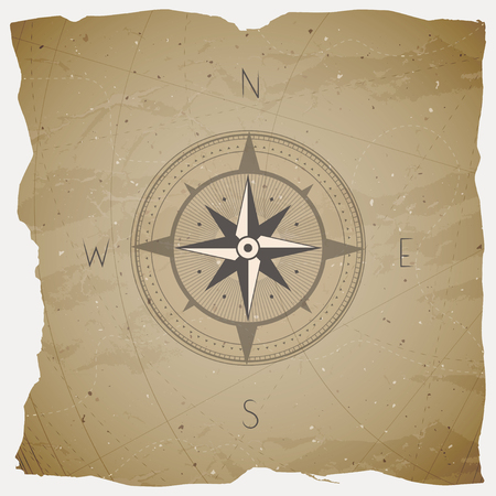 Vector illustration with a vintage compass or wind rose on grunge background. With basic directions North, East, South and West.