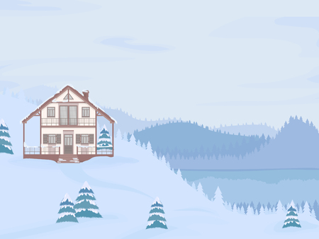 Vector illustration of suburban family house with mansard and firs against the winter landscape background and lake.