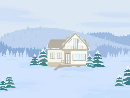 Vector illustration of suburban family house with mansard and firs against the winter landscape background and hills.