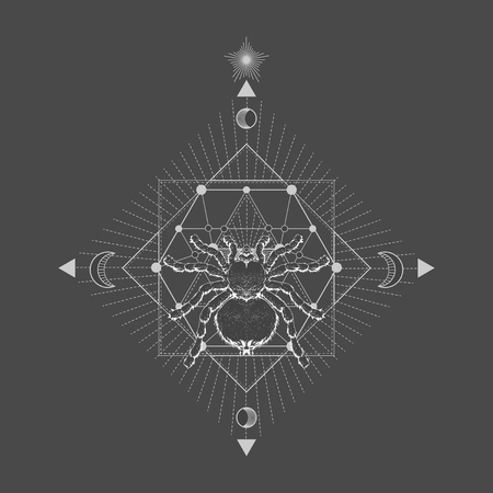 Vector illustration with hand drawn spider tarantula and Sacred geometric symbol on black vintage background. Abstract mystic sign. White linear shape. For you design: tattoo, print, posters, t-shirts, textiles and other.