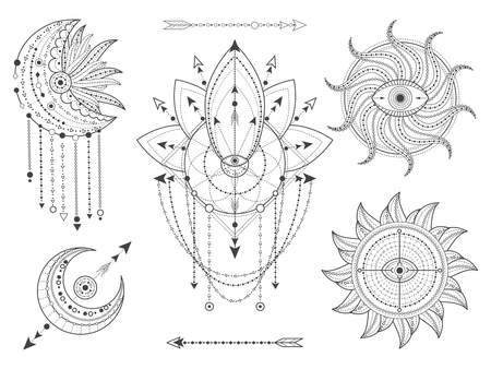 Ensemble vectoriel de symboles géométriques et naturels sacrés sur fond blanc. Collection de signes mystiques abstraits. Formes linéaires noires. Pour vous concevez ou artisanat magique moderne. Vecteurs