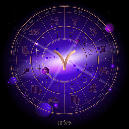 Vector illustration of sign and constellation ARIES and Horoscope circle with astrology pictograms against the space background with planets and stars. Sacred symbols in gold and purple colors.