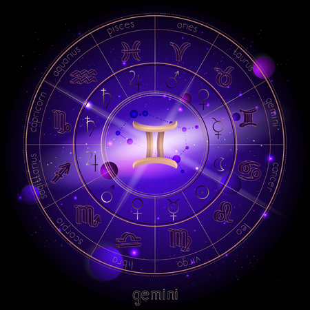 Vector illustration of sign and constellation GEMINI and Horoscope circle with astrology pictograms against the space background with planets and stars. Sacred symbols in gold and purple colors.