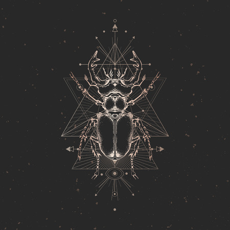 Vector illustration with hand drawn stag beetle and Sacred geometric symbol on black vintage background. Abstract mystic sign. Gold linear shape. For you design: tattoo, print, posters, t-shirts, textiles and other. Ilustração