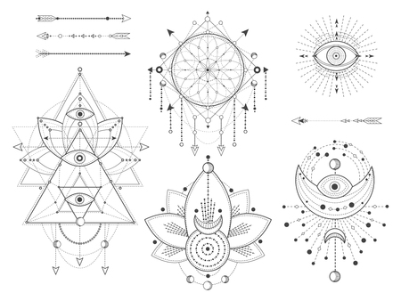 Vector set of Sacred geometric and natural symbols on white background. Abstract mystic signs collection. Black linear shapes. For you design or modern magic craft. Illustration