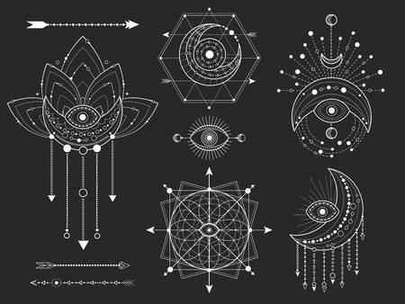Vector kit of Sacred geometric and natural symbols on black background. Abstract mystic signs collection. White linear shapes. For you design or modern magic craft. Illustration
