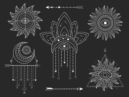 Vector kit of Sacred geometric and natural symbols on black background. Abstract mystic signs collection. White linear shapes. For you design or modern magic craft. Stock Illustratie