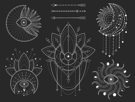 Vector set of Sacred geometric and natural symbols on black background. Abstract mystic signs collection. White linear shapes. For you design or modern magic craft.