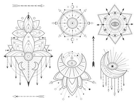 Kit de vector de símbolos sagrados geométricos y naturales sobre fondo blanco. Colección de signos místicos abstractos. Formas lineales negras. Para su diseño o artesanía mágica moderna. Ilustración de vector
