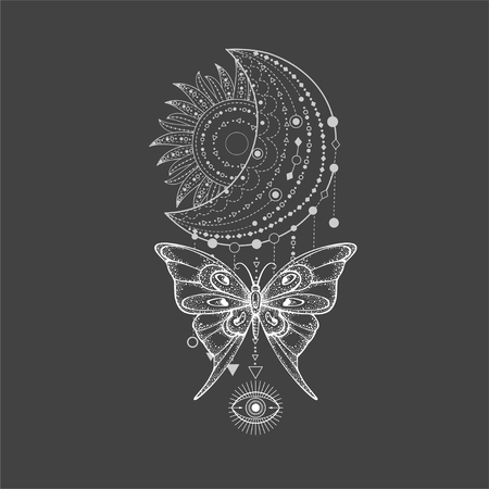 Vector illustration with hand drawn butterfly and Sacred geometric symbol on black background. Abstract mystic sign. White linear shape. For you design, tattoo or magic craft.  イラスト・ベクター素材