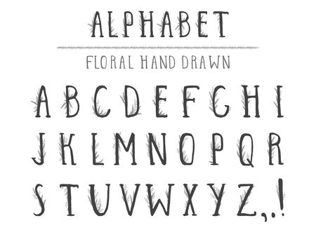 Vector hand drawn alphabet in style grunge with floral elements. Capital letters. Regular type.