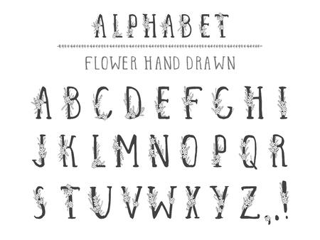 Alphabet dessiné à la main de vecteur dans le style grunge avec des éléments floraux et des fleurs. Lettres majuscules. Type régulier.
