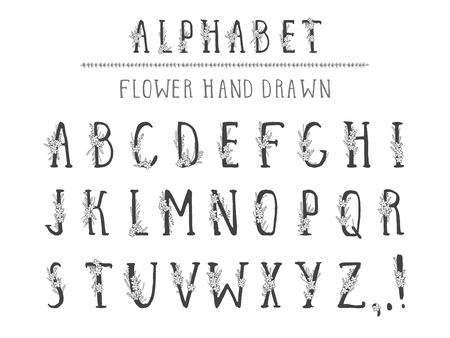 Vector hand drawn alphabet in style grunge with floral elements and flower. Capital letters. Regular type.