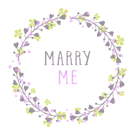 Vector hand drawn illustration of text MARRY ME and floral round frame on white background. Colorful.