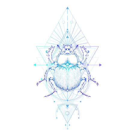 Vector illustration with hand drawn scarab and Sacred geometric symbol on white background. Abstract mystic sign. Colored linear shape. For you design: tattoo, print, posters, t-shirts, textiles.