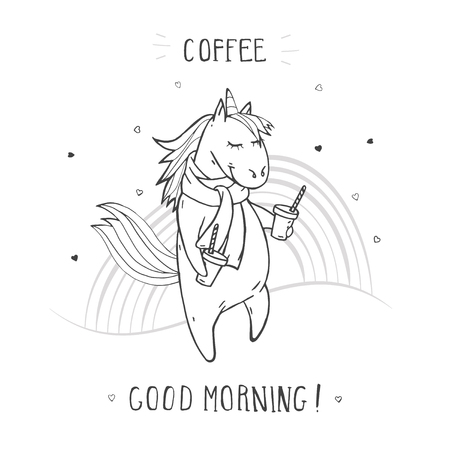 Vector illustration of hand drawn cute unicorn in scarf with coffee, rainbow and text – COFFEE GOOD MORNING! On withe background. For print, t-shits, greeting cards, poster, children room decoration and other. Cartoon style. Monochrome. Banque d'images - 117017917