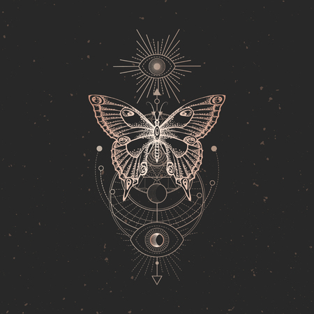 Vector illustration with hand drawn butterfly and Sacred geometric symbol on black vintage background. Abstract mystic sign. Gold linear shape. For you design or magic craft. Illusztráció
