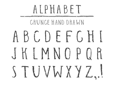Vector hand drawn alphabet in style grunge. Capital letters. Regular type.